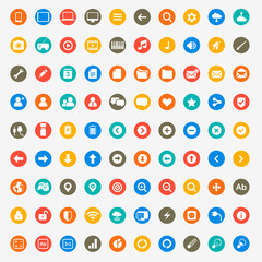 Multimedia icons set for web and mobile in circles