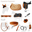Set of equestrian equipment. Vector. - 70612400