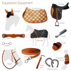 Set of equestrian equipment. Vector.