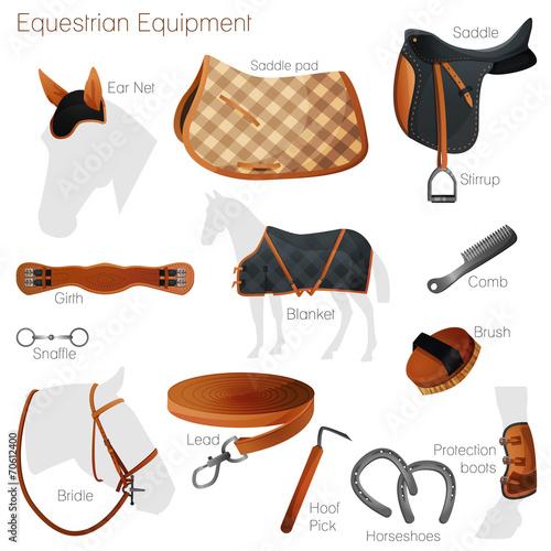 Set of equestrian equipment. Vector. - 70612400