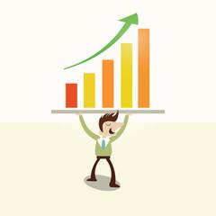 Concept,Business man lifting profit graph.