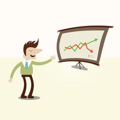 Businessman presentation chart.