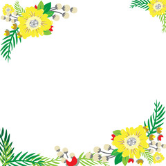 Flowers frame greeting card with white background.