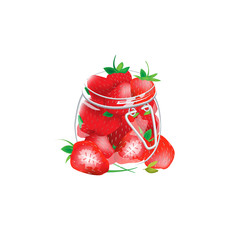 Many strawberries are in jar.