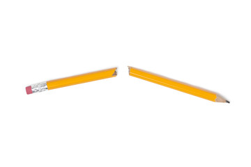 Broken Pencil, Yellow Pencil, Clipping path, Isolated