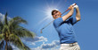 .golfer shooting a golf ball