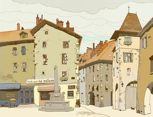 Sketch depicting traditional urban European landscape