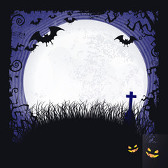 Full moon Halloween background with bats, cross and full moon