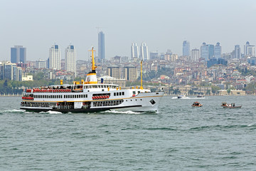 Passenger ship in Bosphorus, Istanbul, Turkey