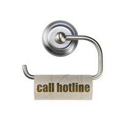 WC Papier Halter mit Rolle - call hotline