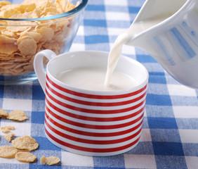versare il latte nella tazza