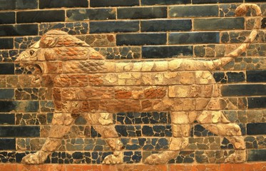 Architectural detail of the Lion of Babylon