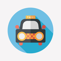 taxi flat icon with long shadow