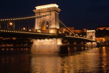 Budapest at night, the Chain Bridge.