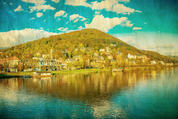Vintage view to old town of Heidelberg