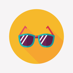 Sunglasses flat icon with long shadow