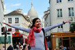 Leinwanddruck Bild - Happy beautiful girl on Montmartre in Paris