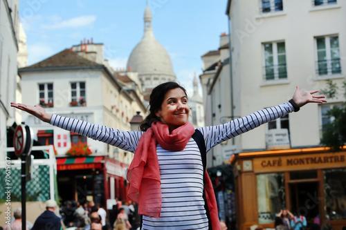 Happy beautiful girl on Montmartre in Paris - 70615637