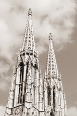Vienna Votive Church - sepia tone monochrome image