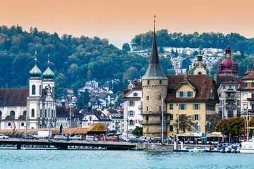 Cityscape of Lucerne at sunset, Switzerland