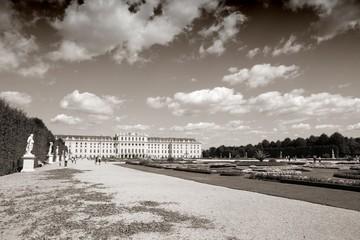 Austria - Vienna. Schoenbrunn - sepia tone monochrome image
