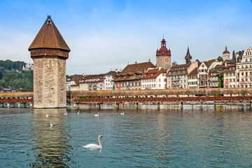 Cityscape of Lucerne with Chapel bridge, Switzerland