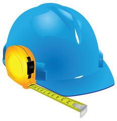 Construction helmet and measuring tape