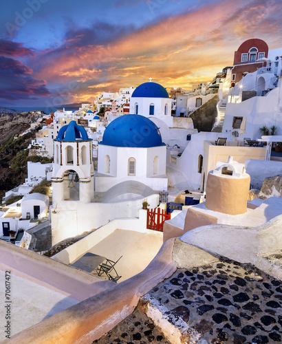 Leinwanddruck Bild Grèce Santorin Village de Oia