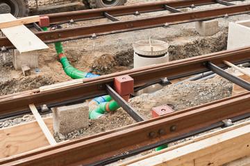 Gleisbauarbeiten - Installation eines Entwässerungssystems