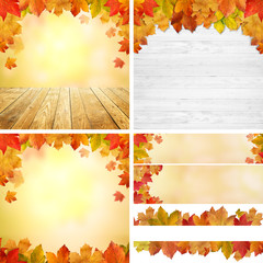 Herbstlicher MIX / Holz / Bokeh