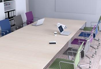 Konferenztisch - Bunte Stühle