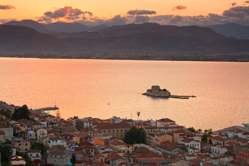 Bourtzi castle and Nafplio in Peloponnese, Greece.