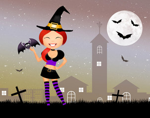 witch with bat of Halloween