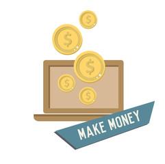 Make money concept design,retro design on white background