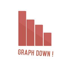 Graph down concept design,retro design on white background