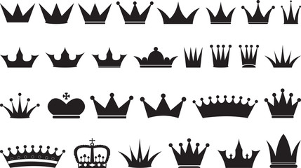 Simple black crowns illustrated on white