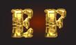 vector golden alphabet letters set