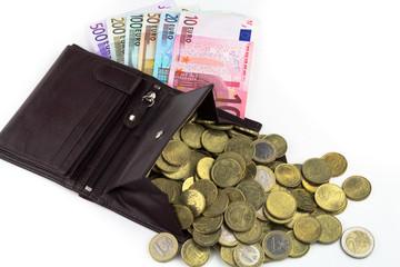 Geldbörse mit Münzen und Scheine