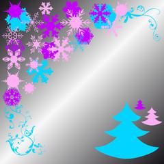 cristmas pines and snowflake