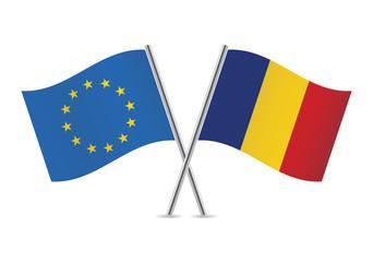 European Union and Romanian. Vector illustration.