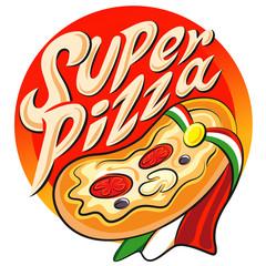 Superhero pizza label. Vector illustration on a white background