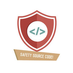 Safety source code symbol on white background,Retro colour