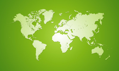White world map on green background.