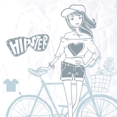 Hipster Teenage Girl On Her Vintage Bike