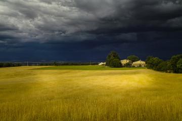 Unwetter über einem Feld in der Provence