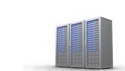 Three digital grey server towers