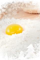 Egg yolk on white flour