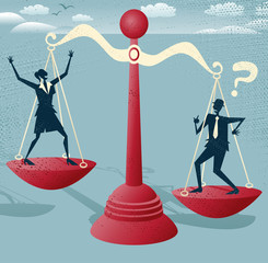 Abstract Businessman and Businesswoman balance on giant scales.