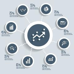 Analysis info graphic design concept dark version