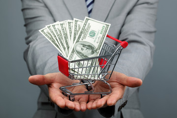 Businessman with shopping cart and money